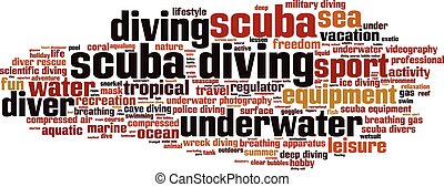 Scuba diving-horizon.eps - Scuba diving word cloud concept....