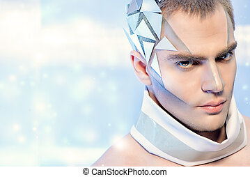 futuristic man - Close-up portrait of a handsome man with...