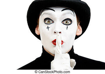 silence - Close-up portrait of a male mime artist showing...