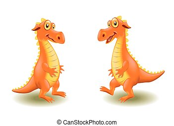 Cartoon drake - Orange cartoon dinosaur on white background