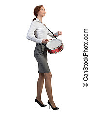 Woman playing drums - Funny businesswoman playing drums...