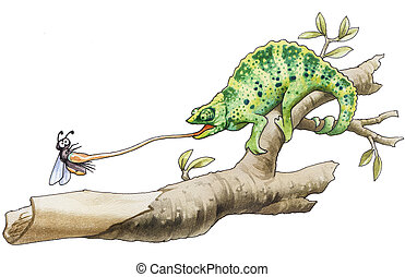 chameleon - The chameleon has caught an insect for a...