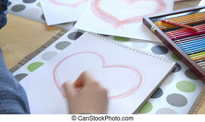 Girl Drawing a Heart - Girl drawing a heart -...