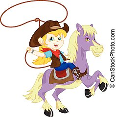 Cowgirl rider on the horse - vector illustration of cute...