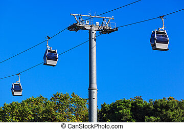 modern ropeway - a ropeway on a background of blue sky