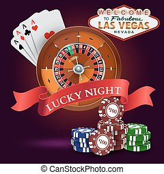 Casino. Roulette with Red Ribbon Lucky night