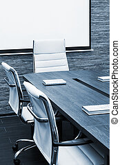 conference table with screen