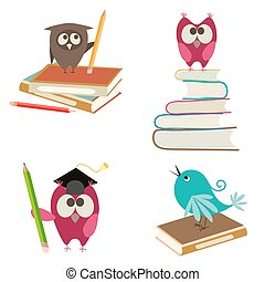 cute birds with books and pencils