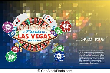 Casino Roulette Playing Cards witn Falling Chips. Vector...