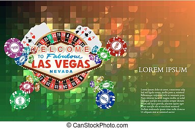 Casino Roulette Playing Cards witn Falling Chips
