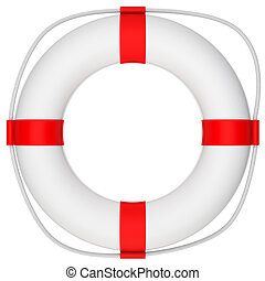 Life saver with rope on isolated white background