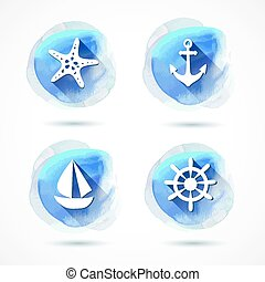 Set of elements on the marine theme with a watercolor...