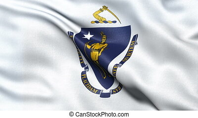 Massachusetts state flag loop - US state flag of...