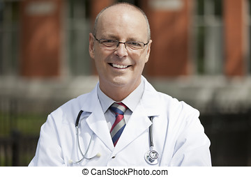 Portrait Of A Friendly Doctor - Apron, Outdoors, Healthcare...