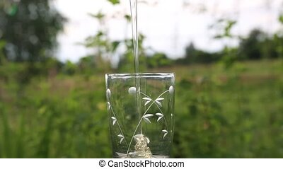 Honey pouring into a glass. - Quality honey pouring a...