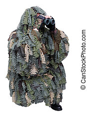 army scout in camouflage uniform with binoculars isolated