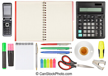 Office stationery - Set of office stationery Isolated on...