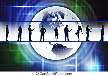 Silhouettes of business people with Earth
