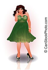 Plus size sexy shopping woman, vector illustration