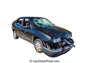 Car wreck - Damaged car wreck on white background