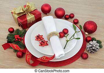 Merry Christmas - Christmas dinner place setting with...