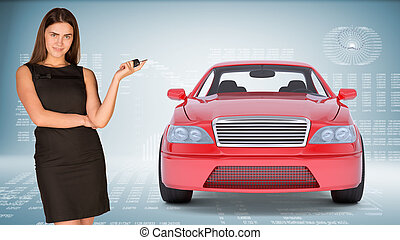Businesslady holding car key and looking at camera on...