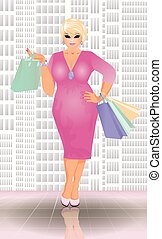 Plus size shopping blonde woman, vector illustration