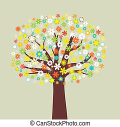 flower tree  - Illustration of a tree of many flowers