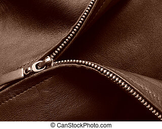 zipper - sepia toned leather jacket fragment with metal...
