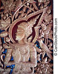 Wooden crave - Close up of wooden crave in Burma temple