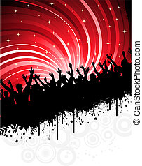 grunge party - Silhouette of an excited audience on a grunge...