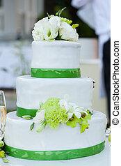 Wedding cake - White wedding cake with real roses...