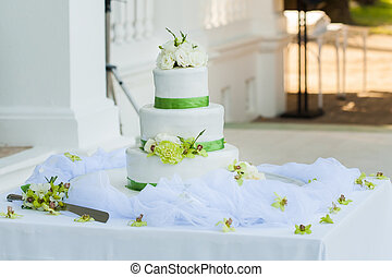 Wedding cake - White wedding cake with real roses...