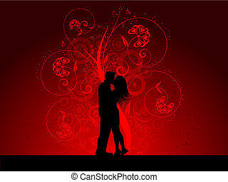 Kissing couple - Silhouette of a kissing couple on a...