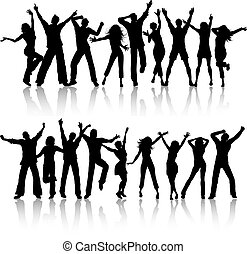 party people - Silhouettes of people dancing on white...