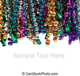 Mardi gras beads on white with copy space - Multi colored...