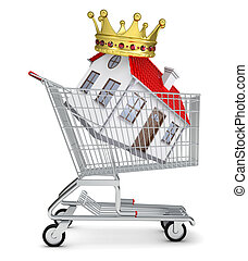 House with crown in shopping cart