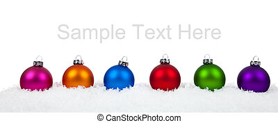 Assorted colored Christmas ornamentsbaubles on white -...