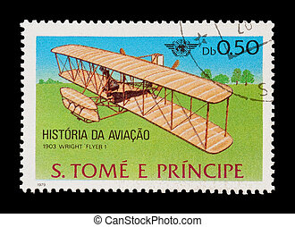 wright flyer - mail stamp featuring the Wright brothers...