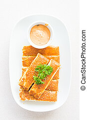 Bread stick with sauce - Top of view Bread stick with sweet...