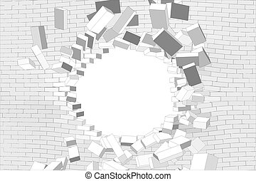 Hole in white brick wall