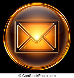 Envelope icon gold, isolated on black background