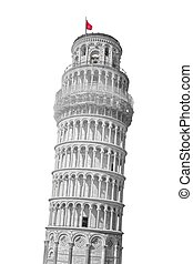 Leaning tower of Pisa, Italy Isolated on white