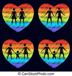 gay couples - Gay couples with hearts on a dark background
