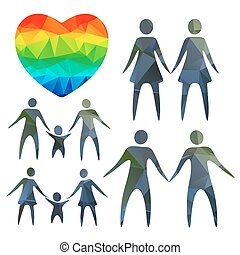 gay couples and heart - Gay couples and heart on a white...