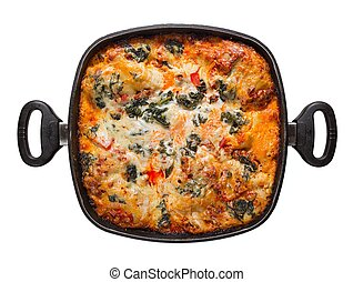 pot lasagna, view from above - pot lasagna isolated on white...