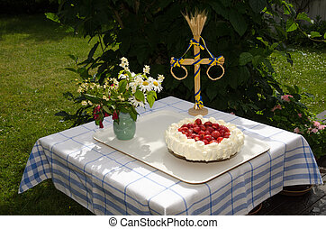 Homemade cake at a decorated table - Homemade strawberry...