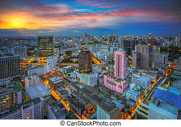 Bangkok city sunset view