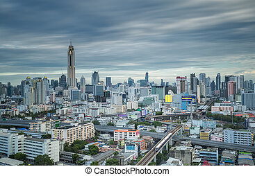 Stock Photos of bts sky trains in bangkok city important urban ...