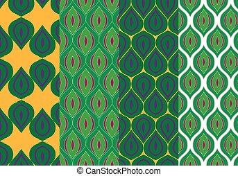 Stylized Peacock Feathers Seamless Patterns Set